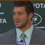 Poised as ever, Tebow says 'hello' to New York