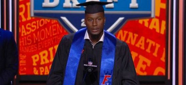 Watch as Carlos Dunlap graduates from Florida at the NFL Draft