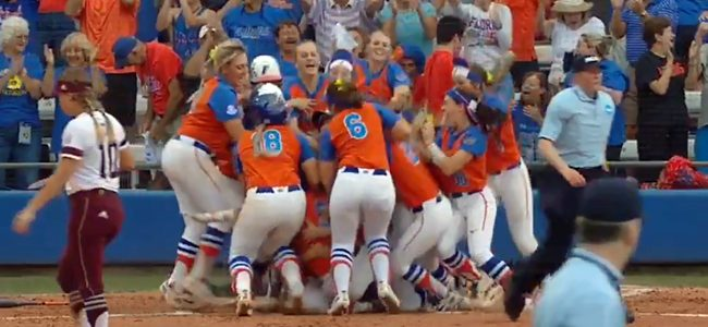 Clutch walk-off homer sends Florida softball to 2018 Women's College World Series