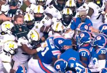 Watch as Florida, Missouri brawl wildly at halftime after late hit on Kyle Trask